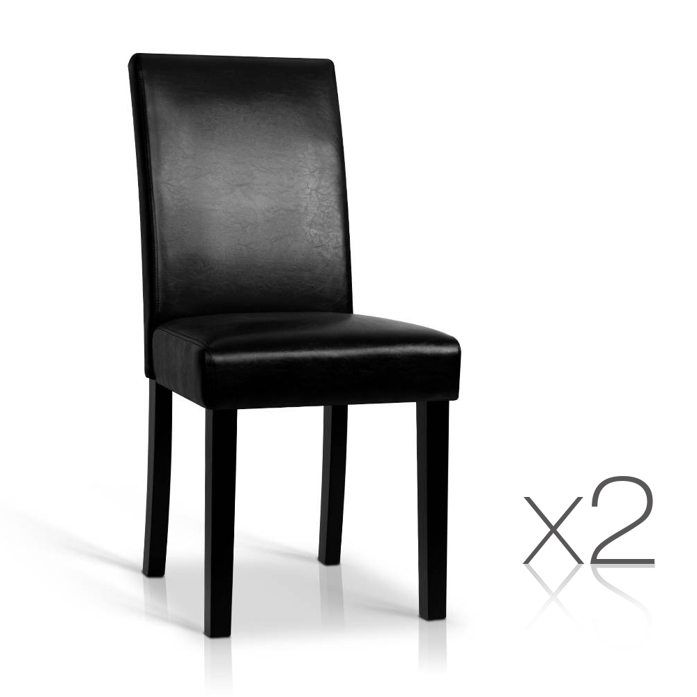 Artiss Set of 2 PU Leather Dining Chairs - Black
