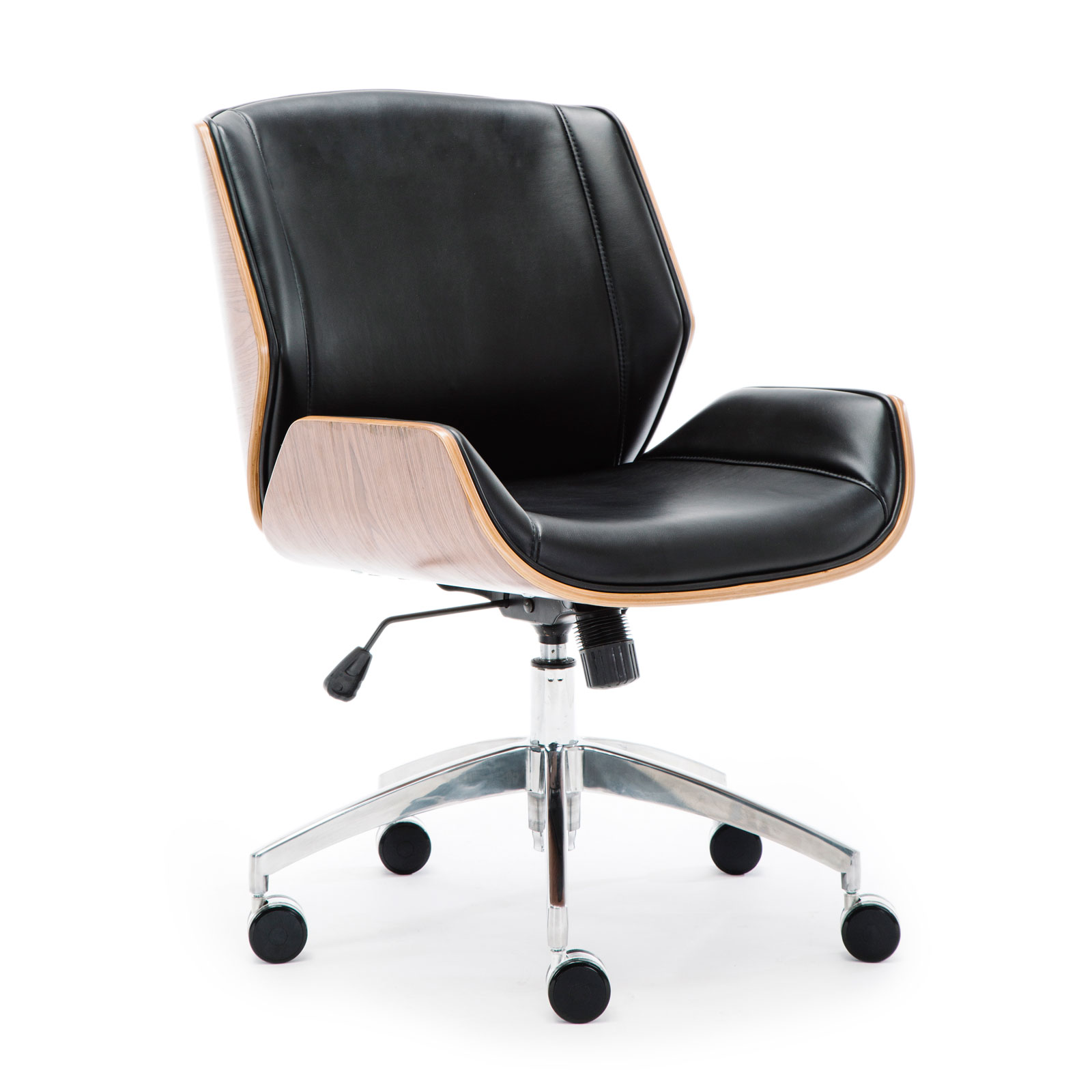 Wooden & PU Leather Office Chair Grosvenor Executive Chair - Walnut
