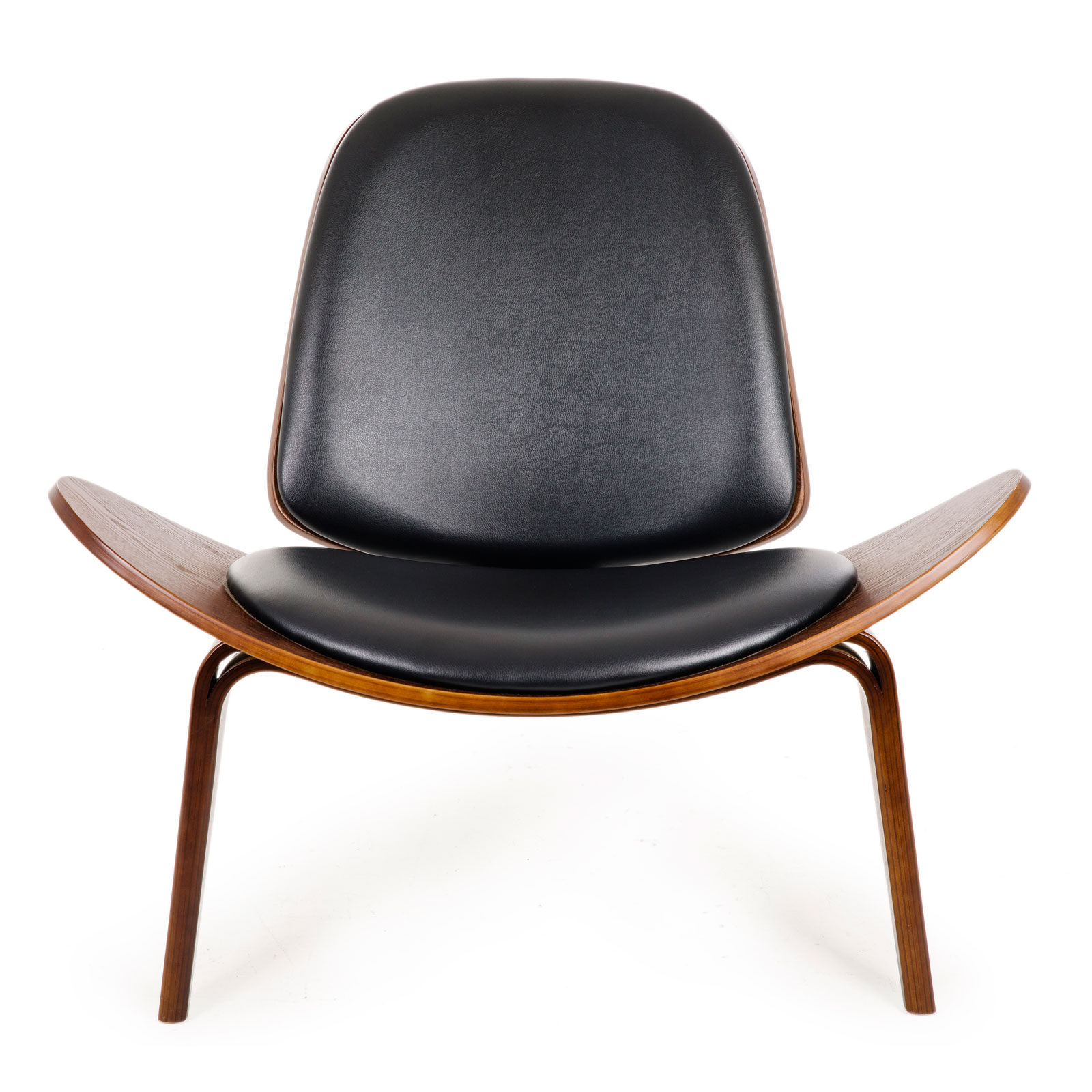 Replica Hans Wegner Shell Chair - Black PU Leather / Walnut Wood