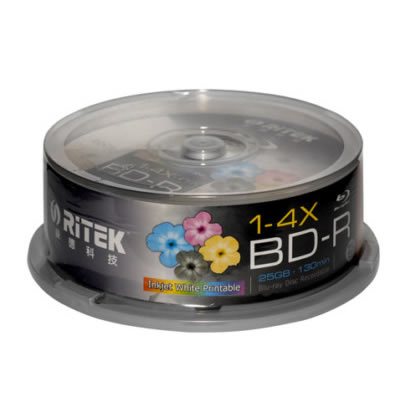 Ritek Blu-Ray BD-R 2X 25GB 130Min White Top Printable 25pcs