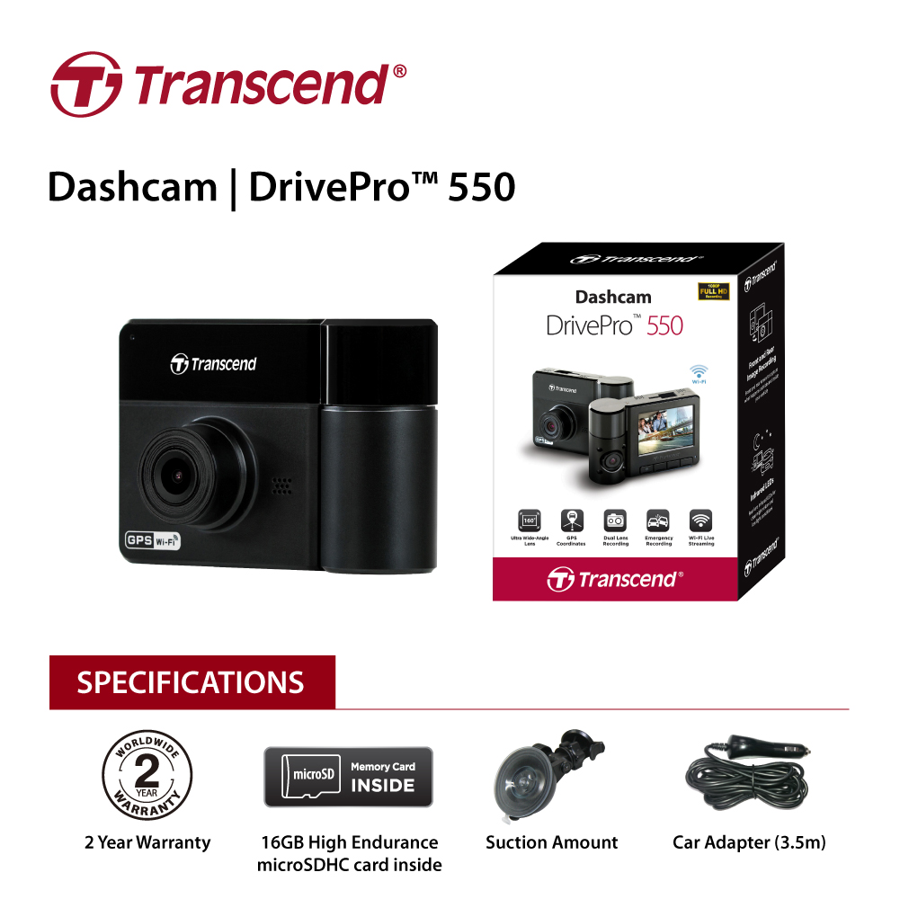 Transcend DrivePro 550 Protection both inside and out.