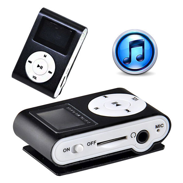 Mini Clip 8G MP3 Music Player With USB Cable & Earphone Black