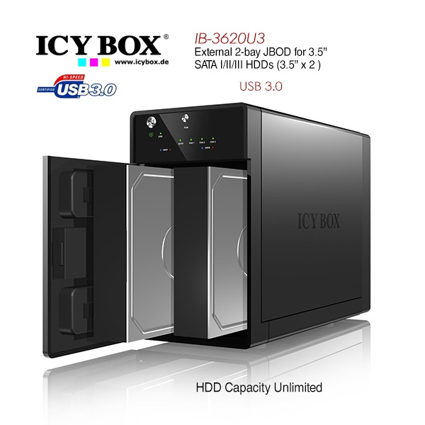 "ICY BOX External 2x JBOD system with USB 3.0 for 3.5"" SATA I / II / III hard disks (IB-3620U3)"
