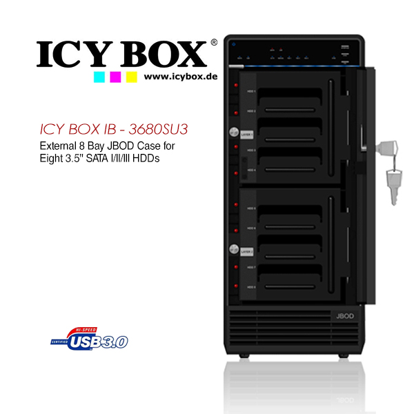 ICY BOX (IB - 3680SU3) External 8 Bay JBOD Case for 8 x 3.5 Inch SATA l/ll/lll HDDs