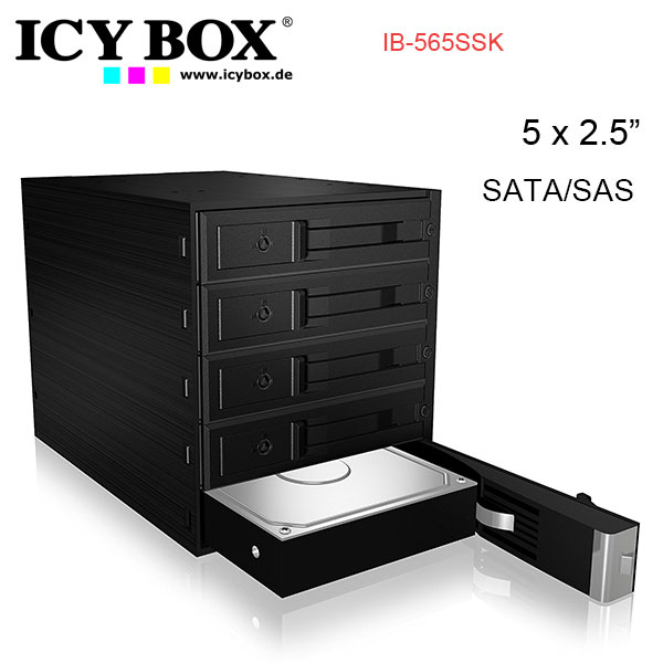 "ICY BOX Backplane for 5x 3.5"" SATA or SAS HDD in 3x 5.25"" bay (IB-565SSK)"