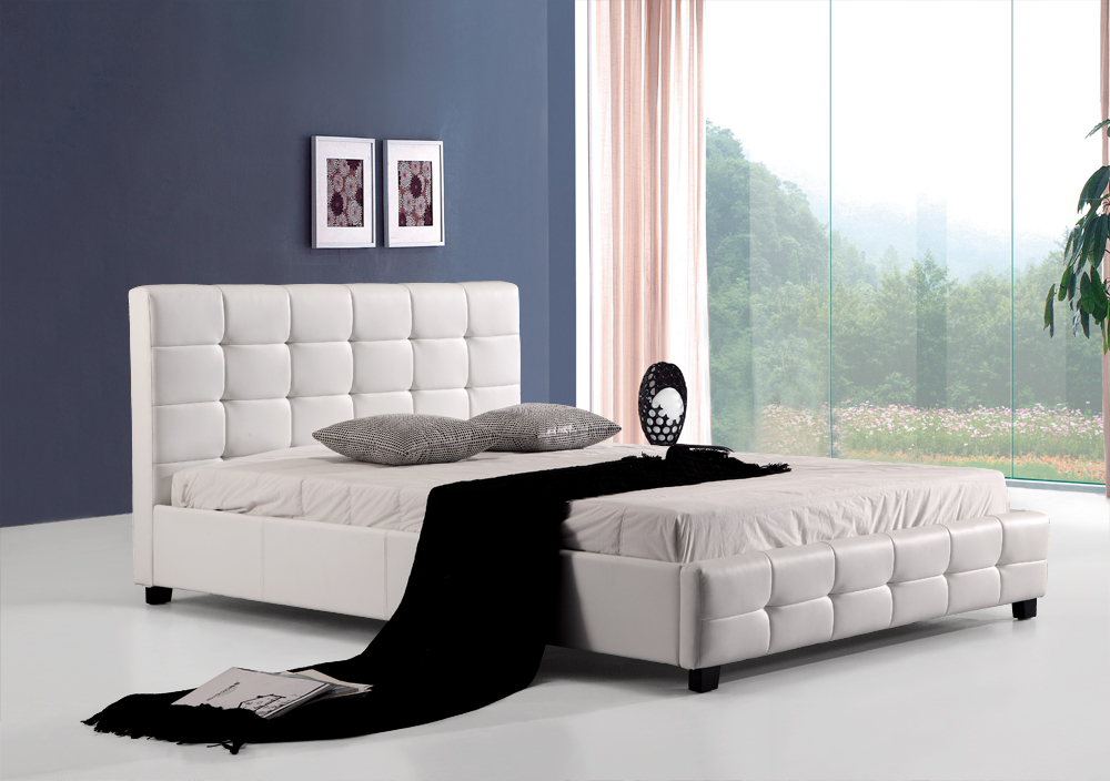 Queen PU Leather Deluxe Bed Frame White