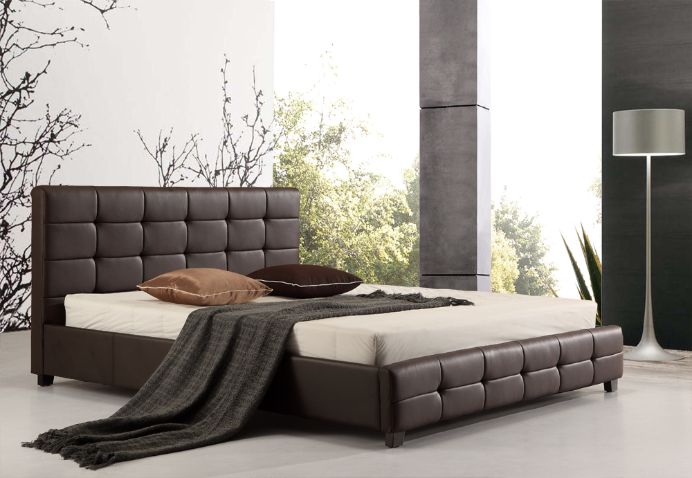 King PU Leather Deluxe Bed Frame Brown