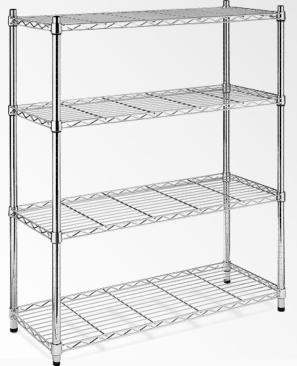 Modular Chrome Wire Storage Shelf 1500 x 450 x 1800 Steel Shelving