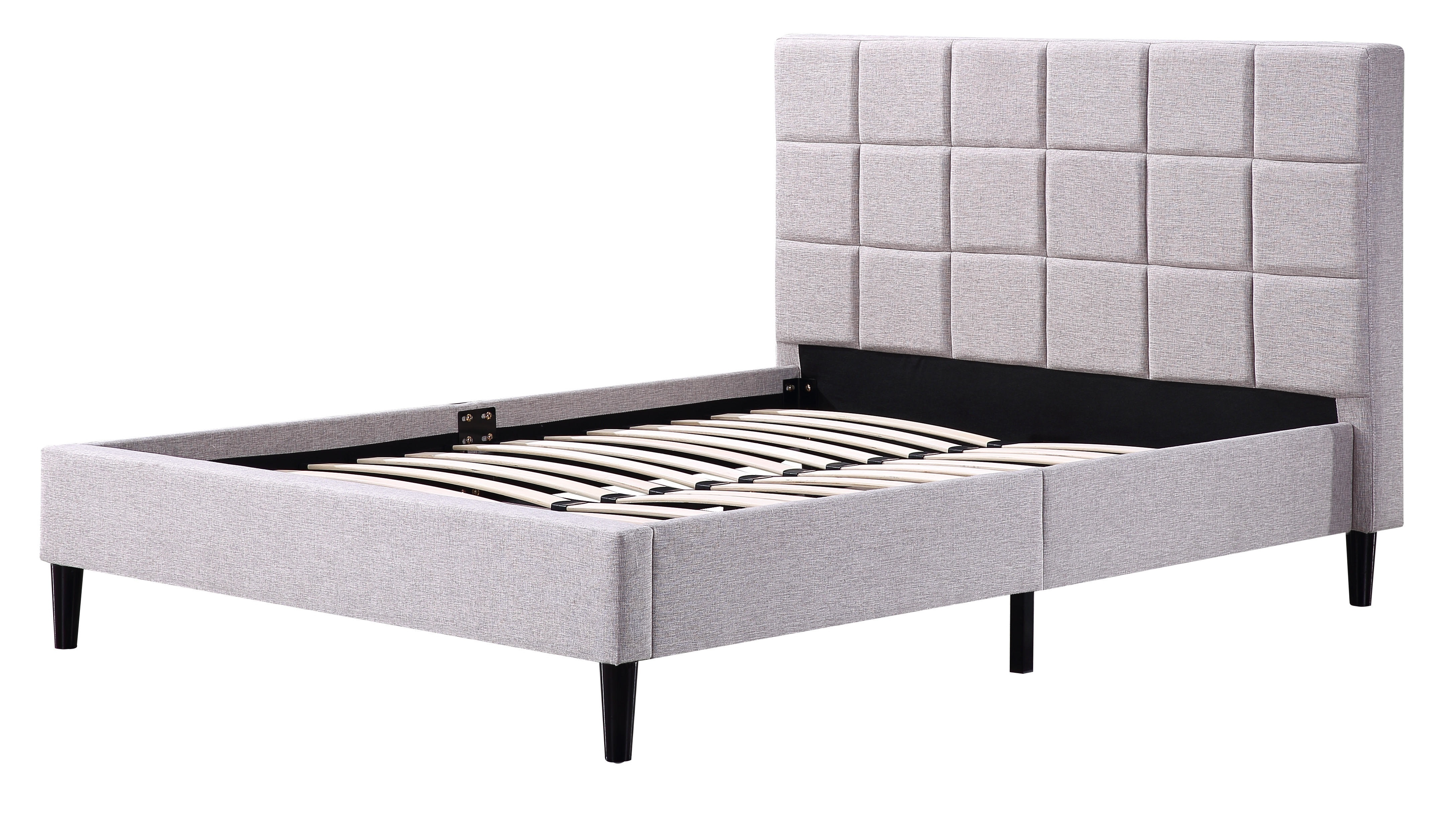 Double Linen Fabric Deluxe Bed Frame Beige