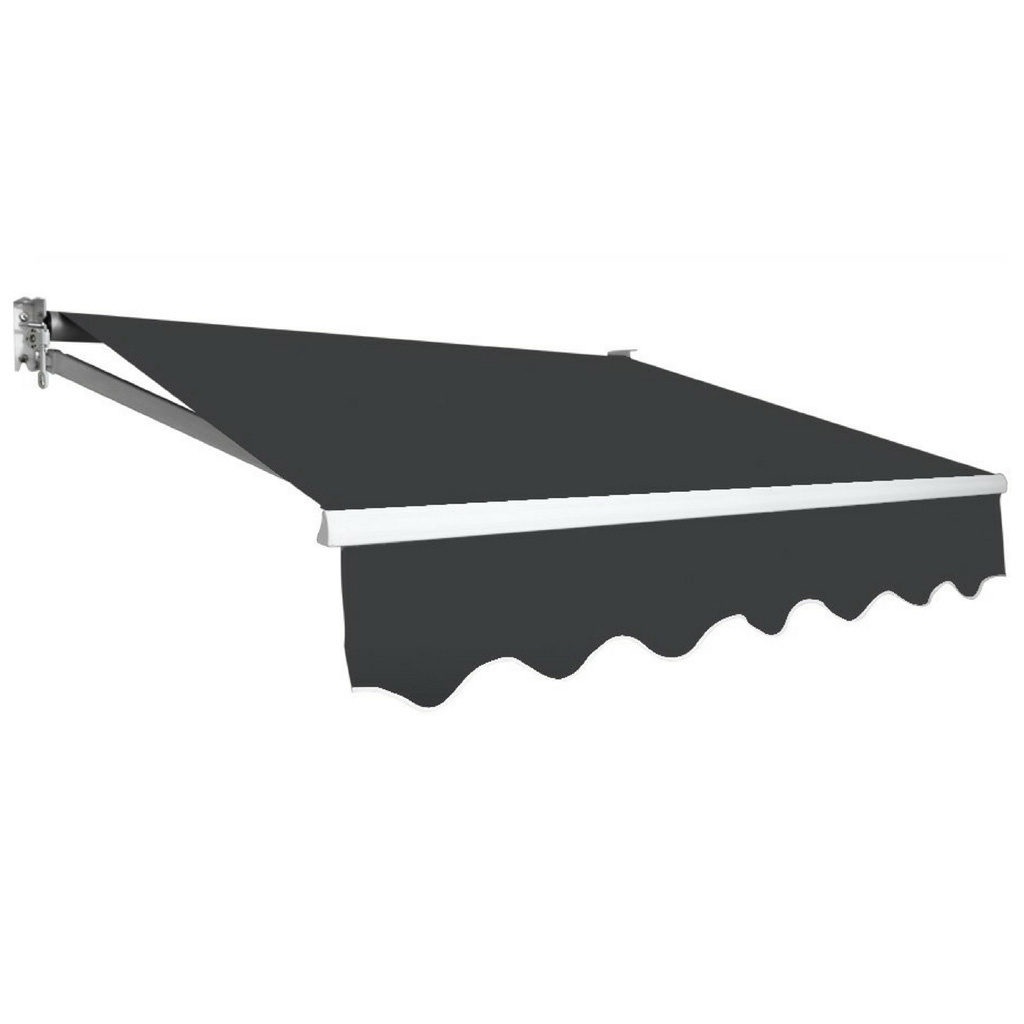 Outdoor Folding Arm Awning Retractable Sunshade Canopy Grey 4.0m x 3.0m