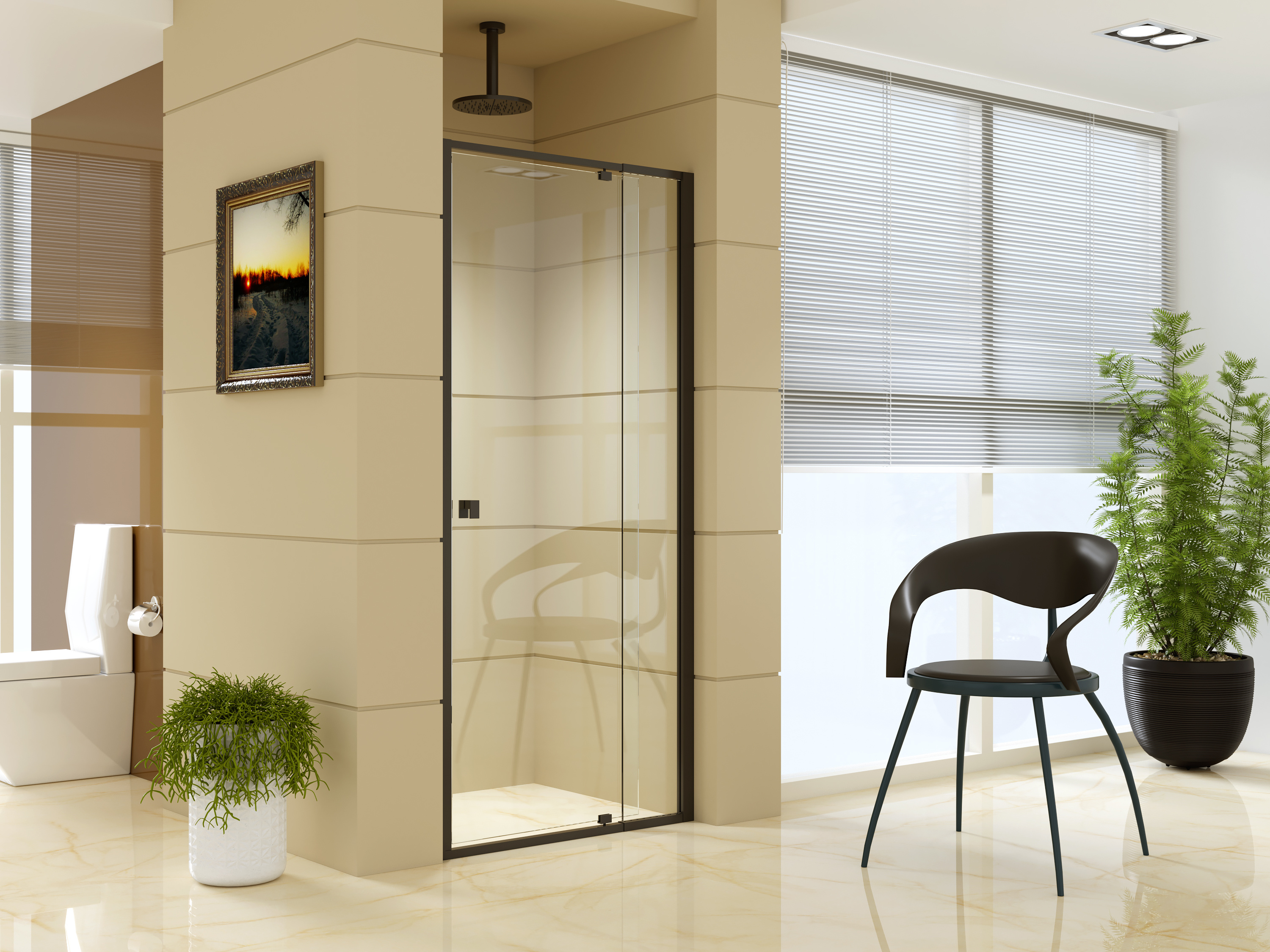 Adjustable Semi Frameless Shower Screen (82~90) x 195cm Australian Safety Glass