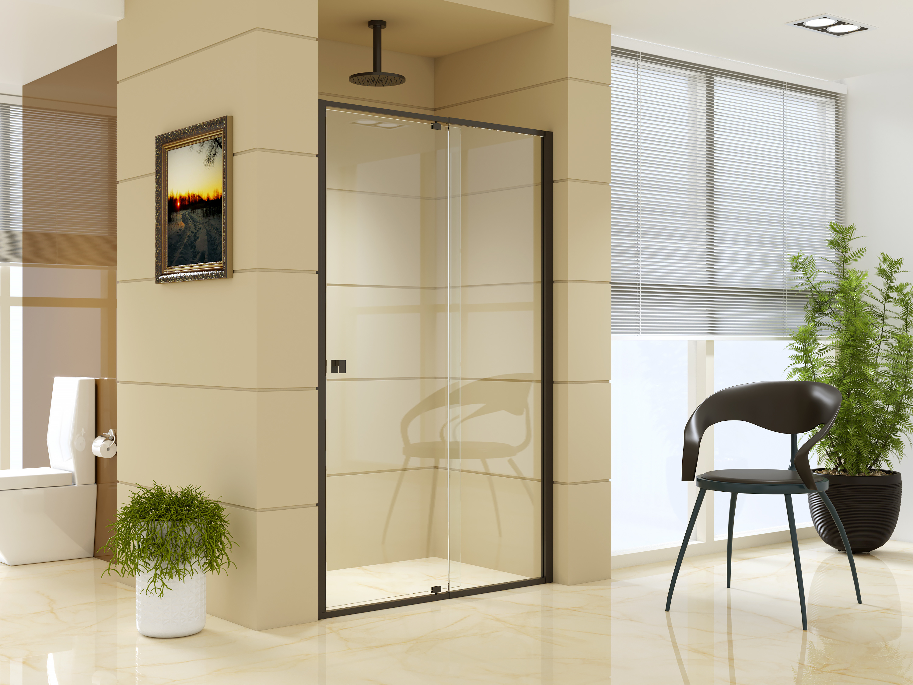 Adjustable Semi Frameless Shower Screen (114~122) x 195cm Australian Safety Glass
