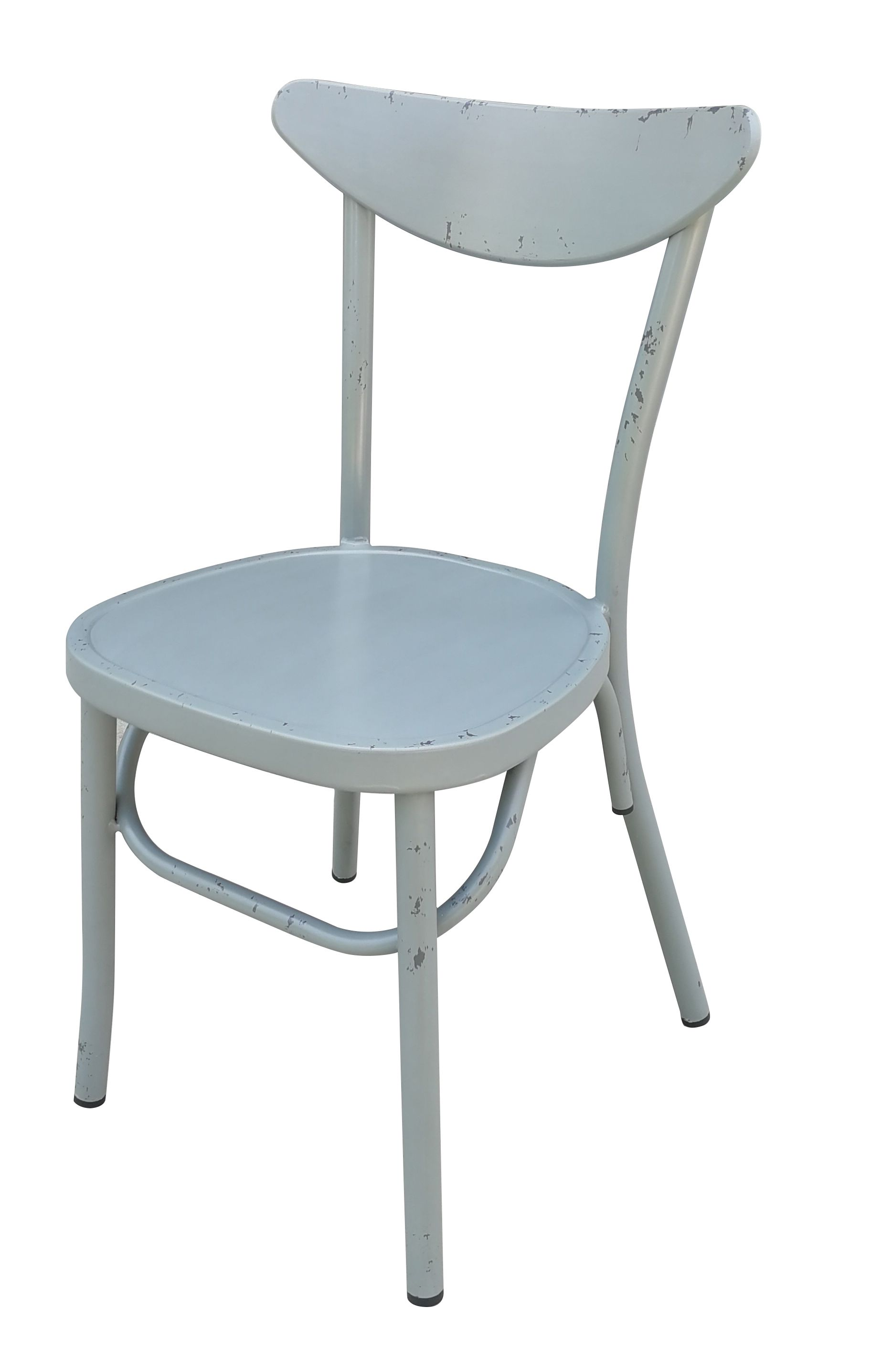 Aluminium Moon Back Chair Retro Grey Set of 2