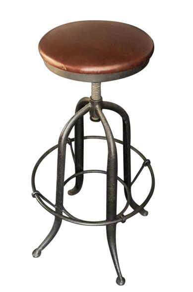 Industrial Bar Stool With Top Grain Leather Seat