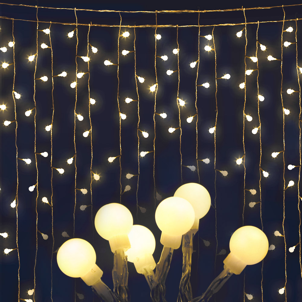 Jingle Jollys 300 LED Curtain Lights - Warm White