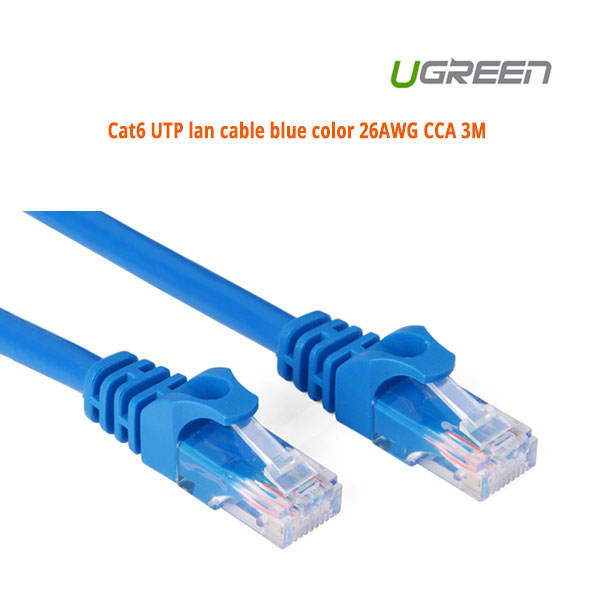 UGREEN Cat6 UTP blue color 26AWG CCA LAN Cable 3M (11203)