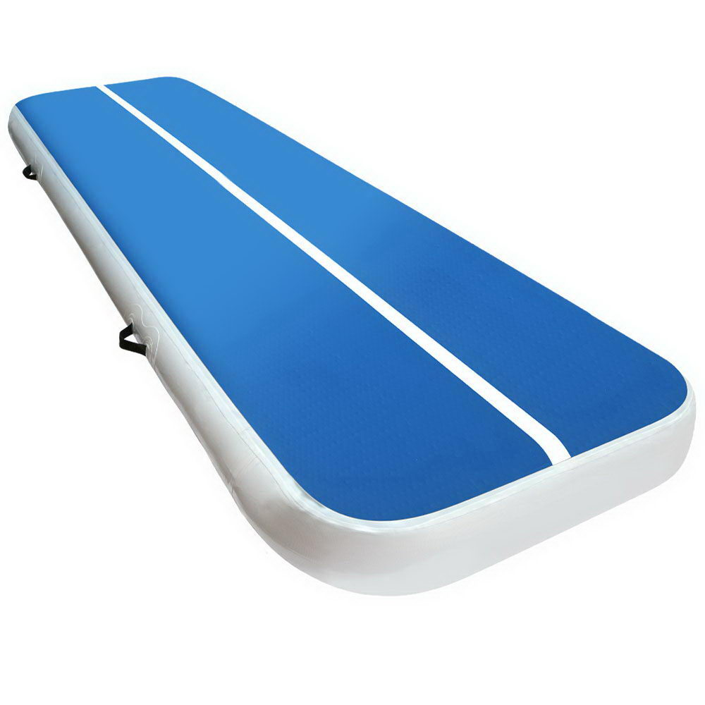 3m x 1m Inflatable Air Track Mat 20cm Thick Gymnastic Tumbling Blue And White