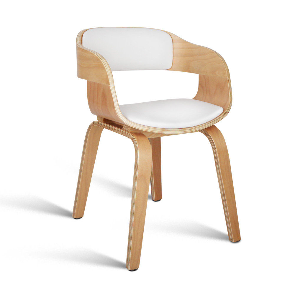 Artiss Wooden Dining Chair with Padded Seat - White