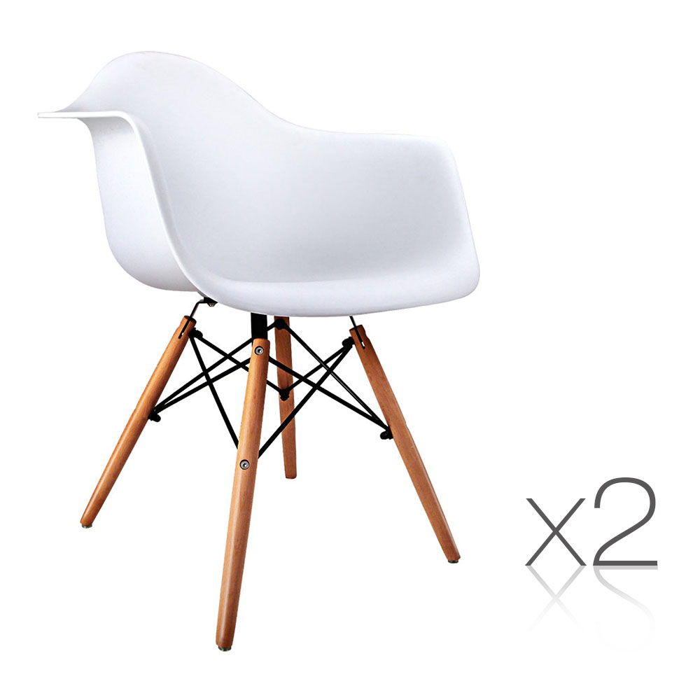 Artiss Set of 2 Beech Wood Dining Chairs - White