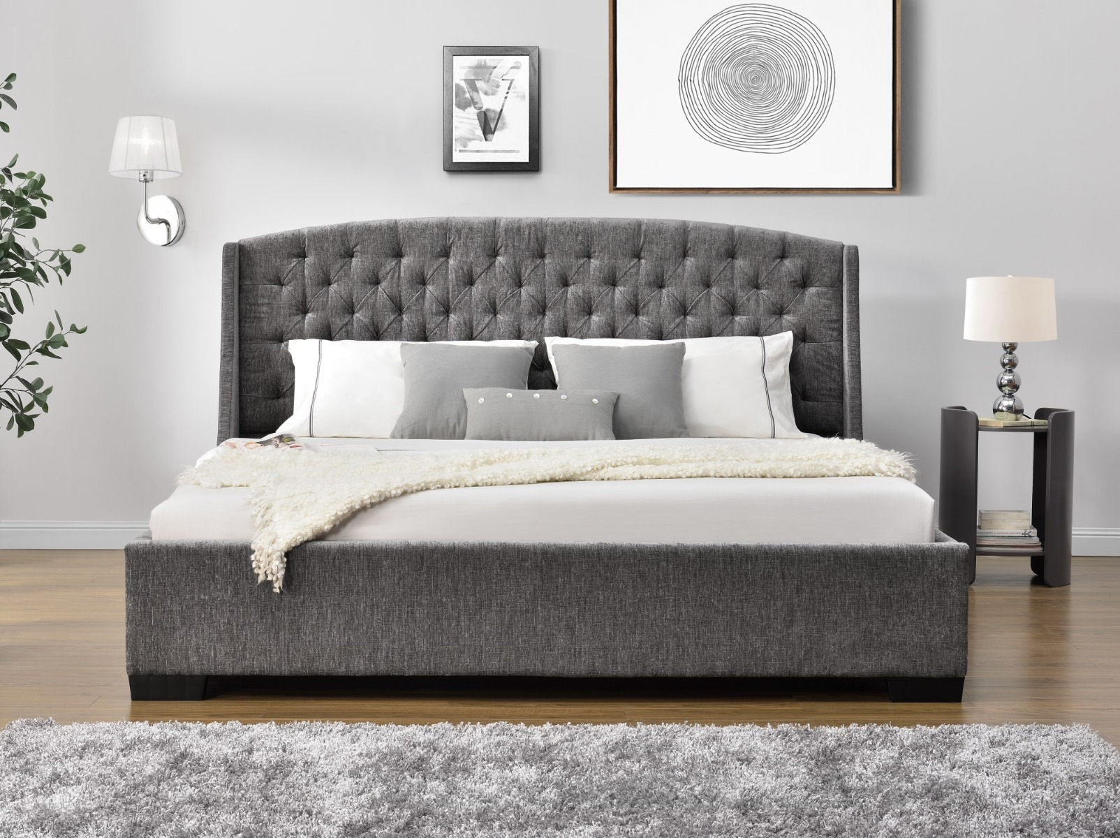 Queen Hampton Elite Bed Frame - Silver Chinelle Fabric