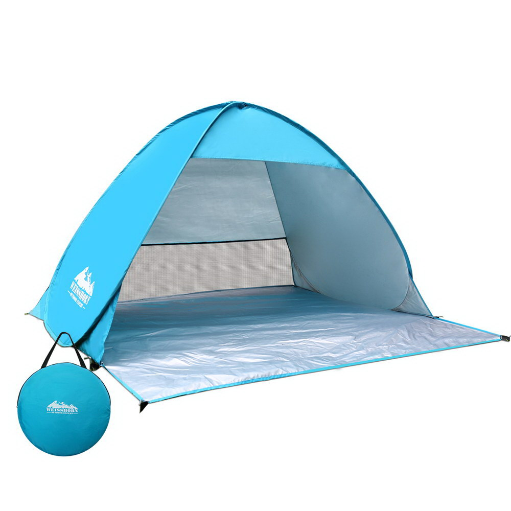 Weisshorn 4 Person Portable Pop Up Camping Tent - Blue