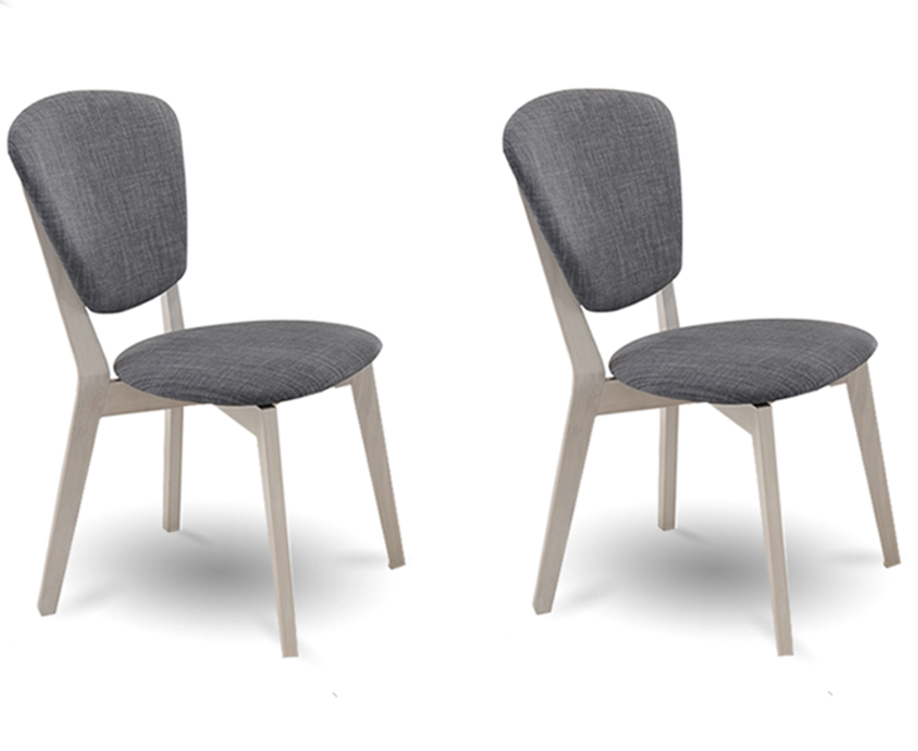 Set of 2 Dining Chair Solid hardwood White Wash