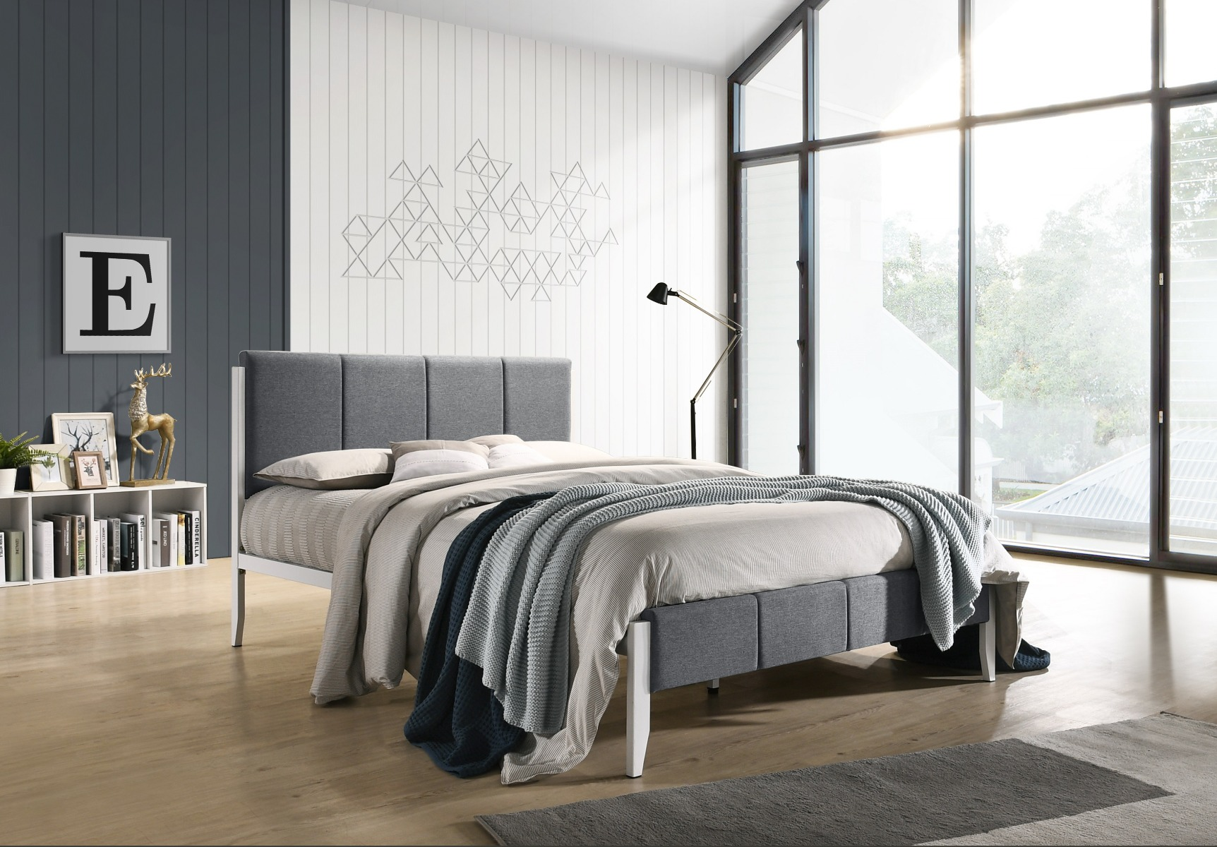 Fabric Upholstered Bed Frame in Grey - King