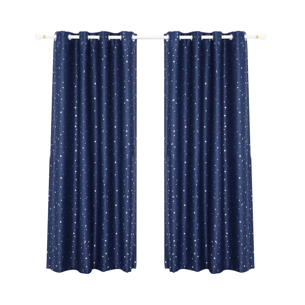 Art Queen 2 Star Blockout 300x230cm Blackout Curtains - Navy