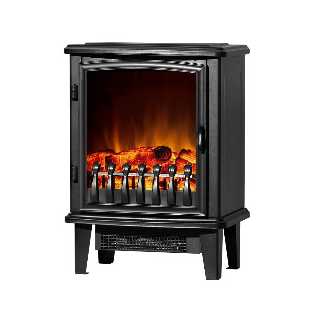 Devanti Electric Fireplace Heater Portable Fire Log Wood Effect Single Door 1800W Black