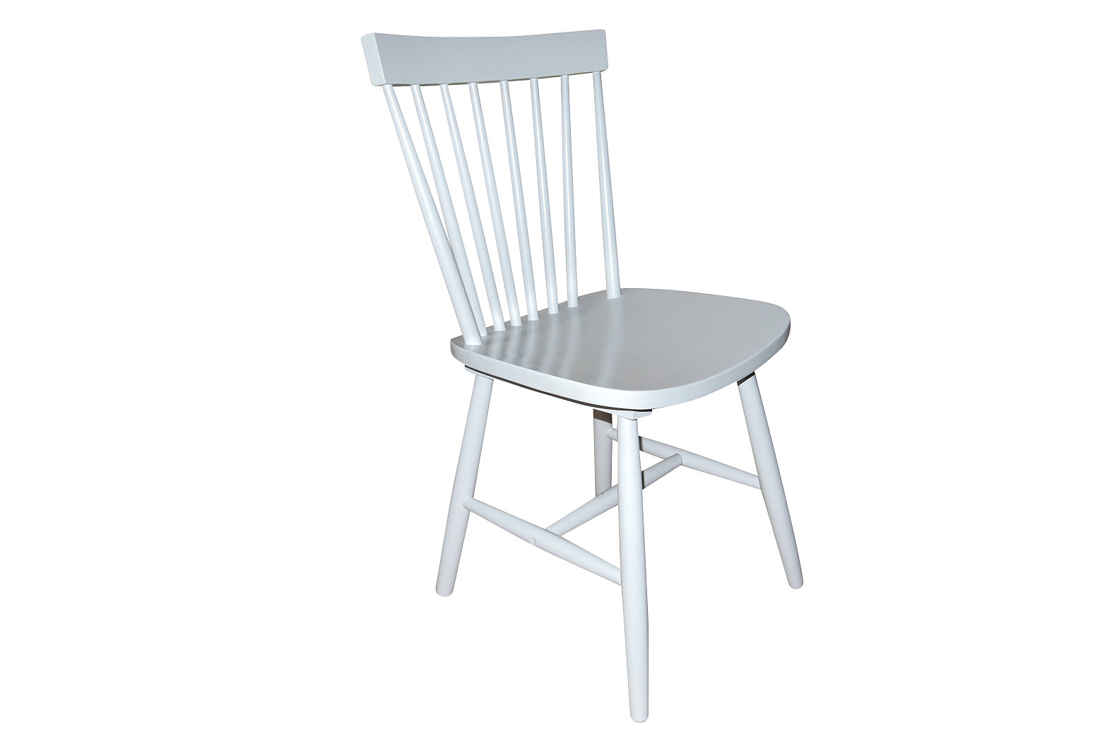 Set of 2 Dining Chairs  Ari Rubberwood Off White Spindle back
