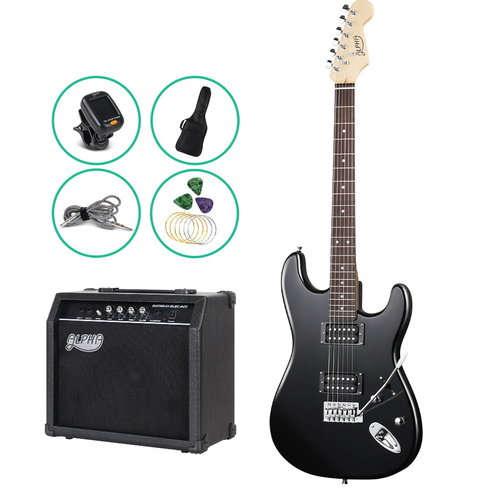 ALPHA Electric Guitar Black with Carry Bag