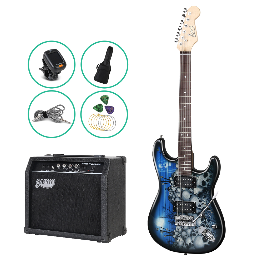 ALPHA Electric Guitar Black and Blue with Carry Bag