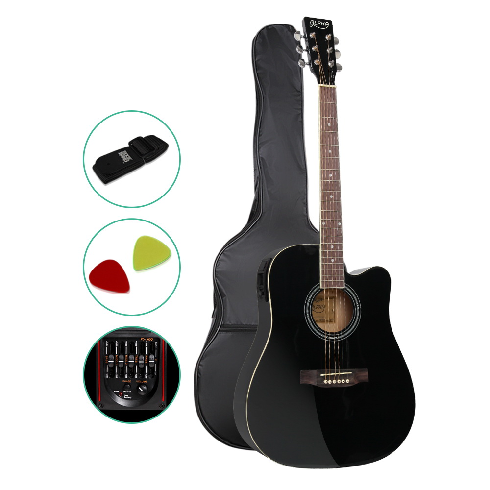 Alpha 41 Inch 5 Band EQ Electric Acoustic Guitar Full Size - Black