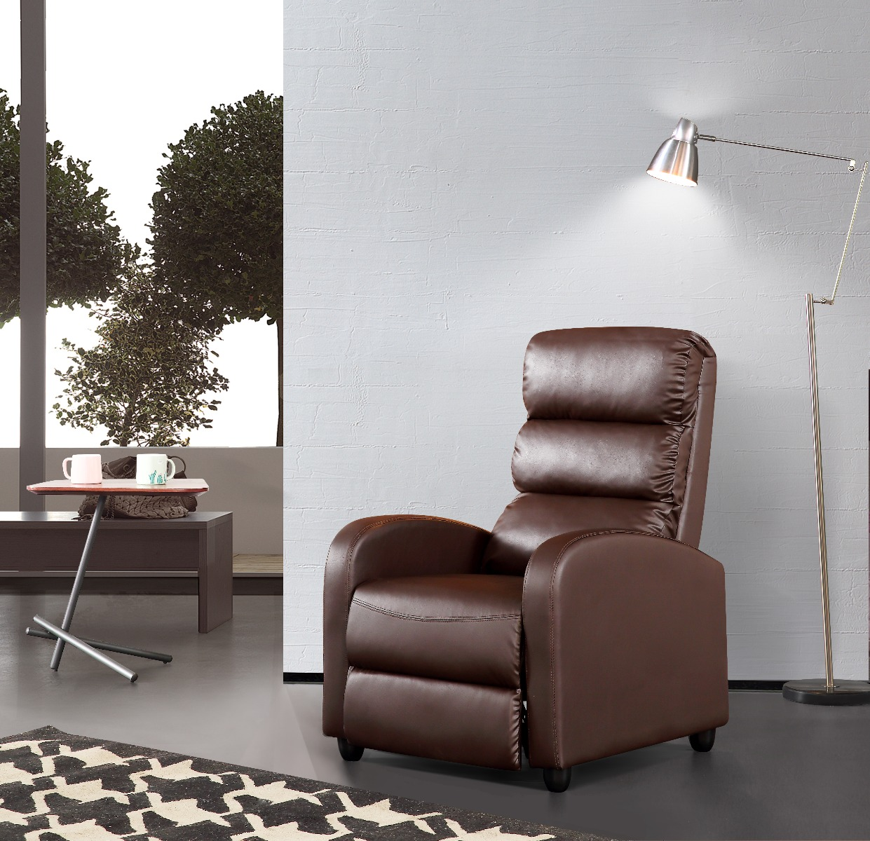 Luxury Leather Recliner Chair Armchair - Brown