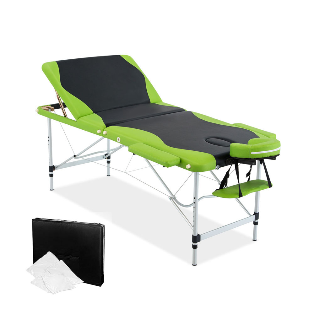 Livemor 3 Fold Portable Aluminium Massage Table - Green & Black