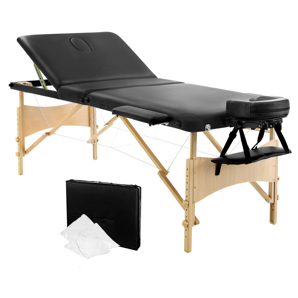 Livemor 3 Fold Portable Wood Massage Table - Black