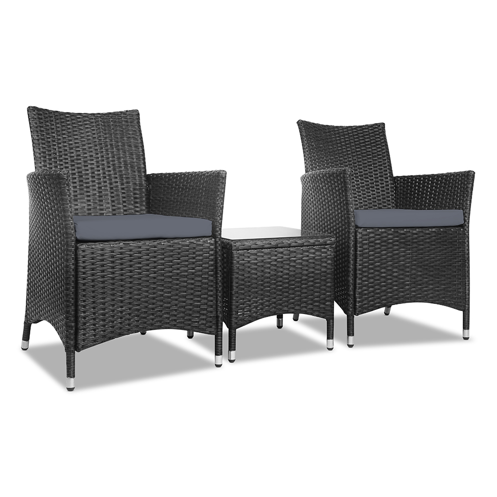 Gardeon 3 Piece Wicker Outdoor Furniture Set - Black