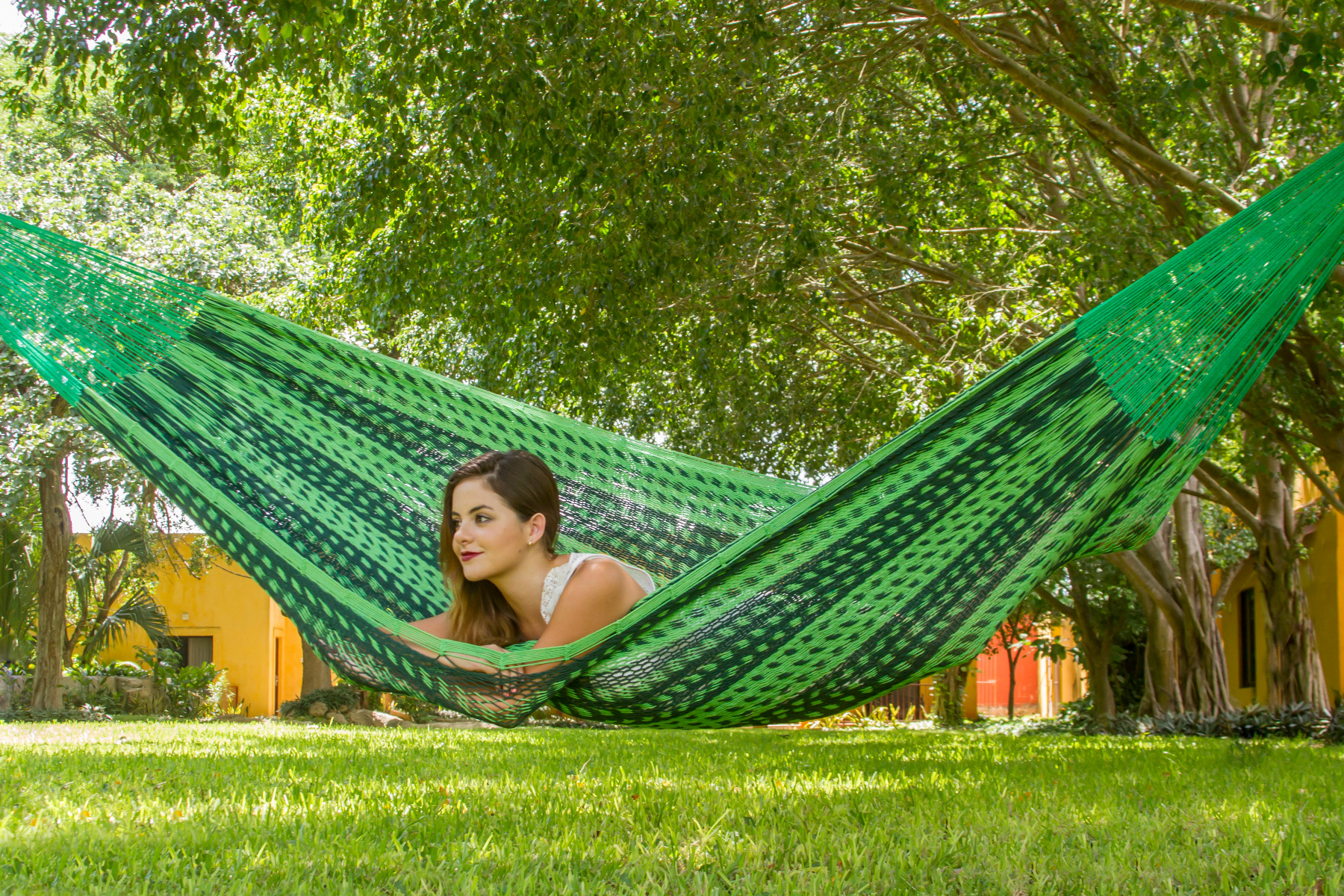 King Size Outdoor Cotton Mexican Hammock in Jardin