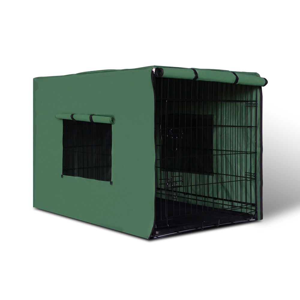 i.Pet 42inch Collapsible Pet Cage with Cover - Black & Green