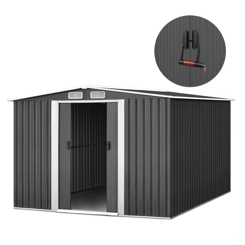 Giantz 2.57 x 3.12m Garden Shed with Roof - Grey