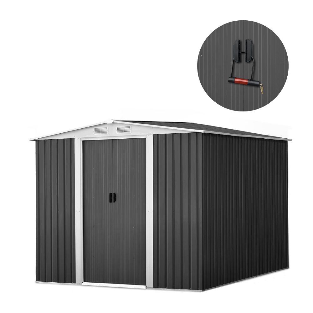 GIANTZ Garden Shed Workshop Shelter Metal with Roof 2.57x2x2M