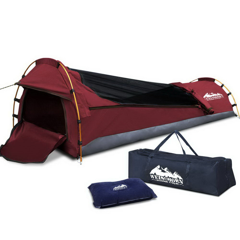 Weisshorn Biker Single Swag Camping Swag Canvas Tent - Red
