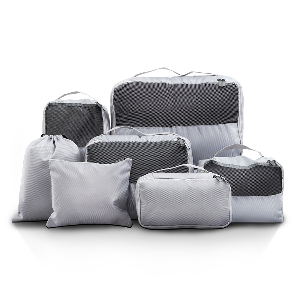 Wanderlite 7PCS Grey Luggage Organiser Suitcase Sets Travel Packing Cubes Pouch Bag
