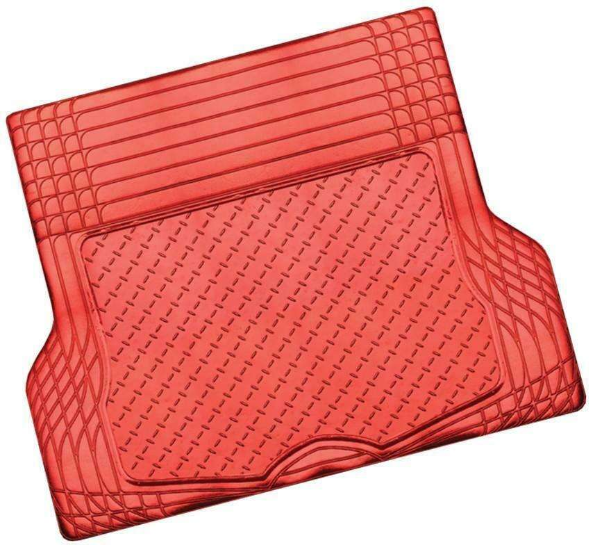 ALUMINIUM LOOK 1-Piece Boot Mat - RED [Rubber/Aluminium Look]