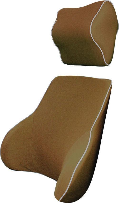 Mocha Memory Foam Lumbar Back & Neck Pillow Support Back Cushion Office Car Seat