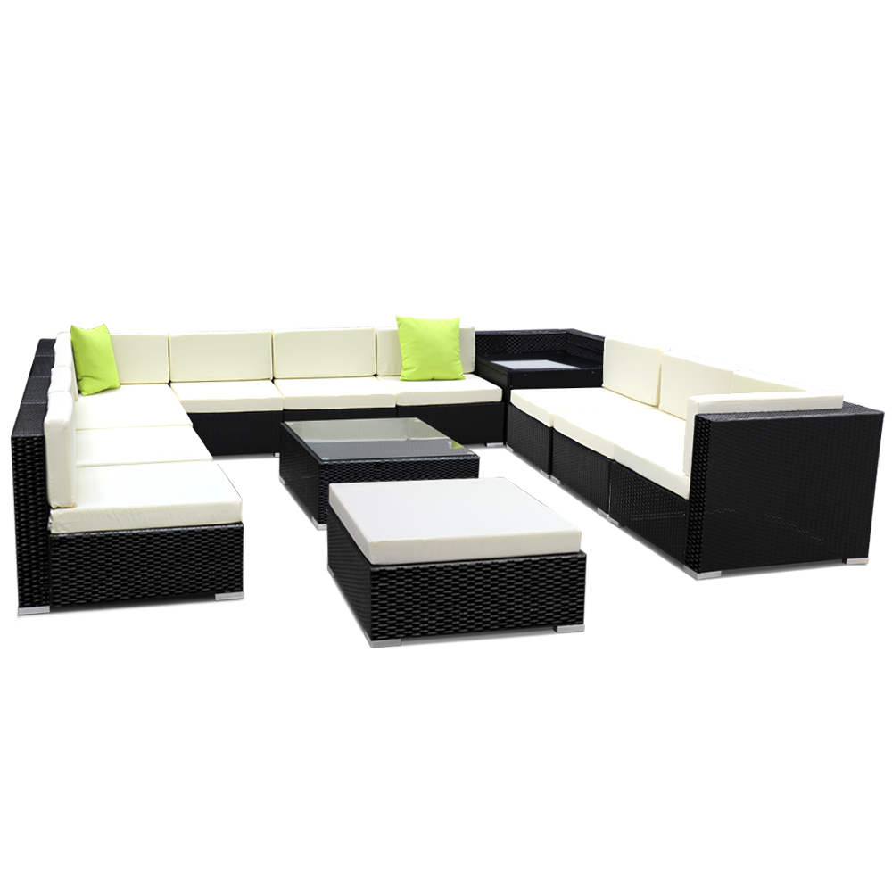Gardeon 13PC Sofa Set with Storage Cover Outdoor Furniture Wicker