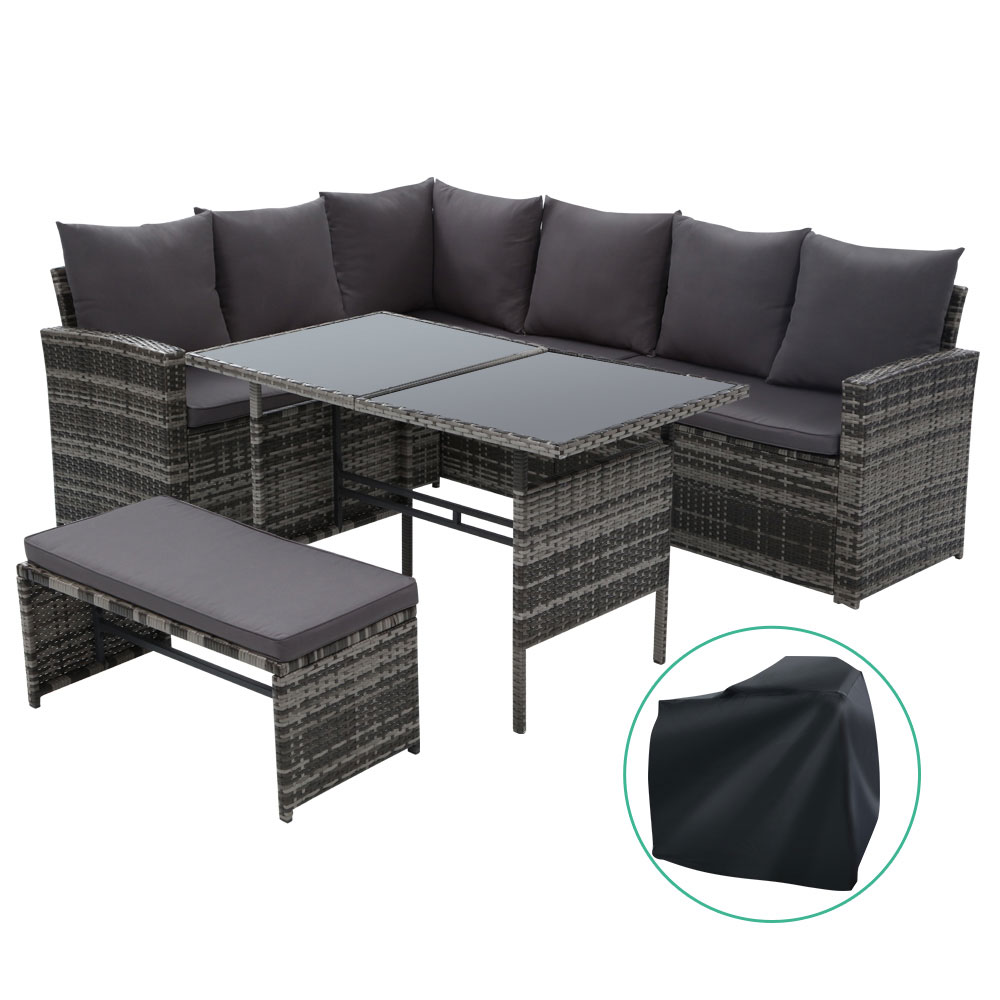 Gardeon Outdoor Furniture Sofa Set Dining Setting Wicker 8 Seater Storage Cover Mixed Grey